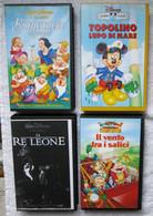4 VHS DISNEY-BIANCANEVE 7 NANI-RE LEONE-IL VENTO TRA SALICI-TOPOLINO LUPO MARE- - Dibujos Animados