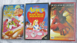 N° 3 VHS-SPIDER-MAN-ALICE NEL PAESE DELLE MERAVIGLIE-ALADINO E LA LAMPADA MERAV - Dibujos Animados