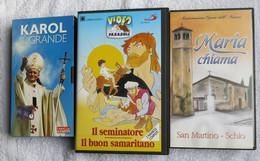 N° 3 VHS - MARIA CHIAMA - IL SEMINATORE E IL BUON SAMARITANO - KAROL IL GRANDE - - Children & Family