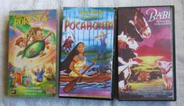 3 VHS CARTONI ANIMATI-C'ERA UNA VOLTA NELLA FORESTA-POCAHONTA-BABE MAIALINO CORAGGIOSO - - Dibujos Animados