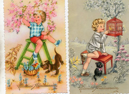 Photochrom - 2 CP. - Cartes Glacées - Enfant Sur Une échelle Dans Un Arbre - Enfant Et La Cage à Oiseaux - Scan Verso - Contemporanea (a Partire Dal 1950)
