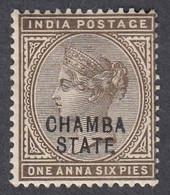 Chamba, Scott #3, Mint Hinged, Victoria Overprinted, Issued 1887 - Chamba