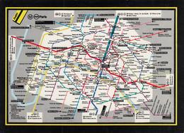 Paris Metro Metropolitan Subway Underground Railway Map Postcard - Subway