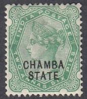 Chamba, Scott #5, Mint Hinged, Victoria Overprinted, Issued 1887 - Chamba