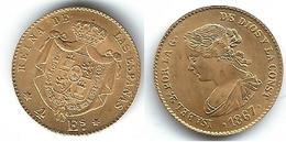 ESPAÑA ISABEL II 4 ESCUDOS 1867 ORO GOLD  MADRID - Colecciones