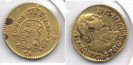 ESPAÑA CARLOS III MEDIO ESCUDO  1786 MADRID ORO GOLD A4 - Colecciones