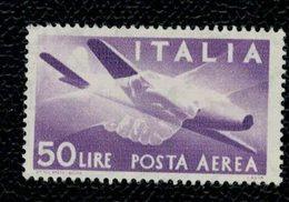 "Italia - Italy 1957 Posta Aerea ""Democratica"" Valore Da 50L ** MNH - 1946-60: Nieuw/plakker"