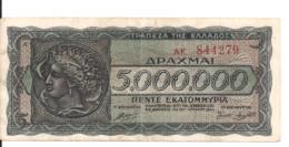 GRECE 5 MILLION DRACHMAI 1944 VF+ P 128 - Grecia