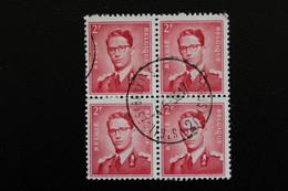 1953,BELGIQUE Y&T NO 925 2F ROUGE BLOC DE 4  ROI BAUDOUIN 1ER  OBLITERE ... - Used Stamps