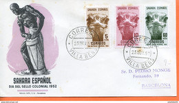 "Maroc;FDC,primer Dia; 1952 "" Sahara Espagnol  "" Dia Del Sello Colonial,journée Du Timbre ""Morocco;Marruecos - Sahara Spagnolo"