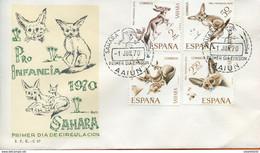 """Maroc;FDC,primer Dia,1er Jour; 1970 """" Sahara Espagnol  """" Pro Infancia """"Morocco;Marruecos - Sahara Spagnolo"""
