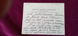 CARTE DE VISITE JACQUES CARTIER CARMOUCHE INGENIEUR GENERAL CHEF SERVICE TECHNIQUE BATIMENTS DE LA VILLE DE PARIS - Visiting Cards