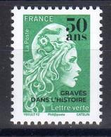 FRANCE 2020/21 / N° 5252  Marianne L'engagée-surchargée 50 Ans GRAVES DANS L' HISTOIRE-Lettre Verte / NEUF - 2018-... Marianne L'Engagée