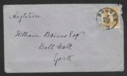 Belgium - 1878 Cover - Bruges To York UK - 25c Stamp - 1869-1883 Leopold II