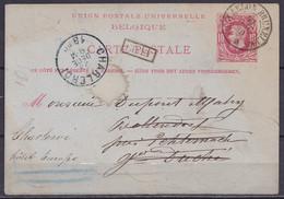 """EP CP 10c Rouge (N°30) De Ciney Càd Ambulant """"ARLON-BRUXELLES/ 21 DEC 1880"""" Pour BOLLENDORF Près Echternach (Luxembourg) - AK [1871-09]"""