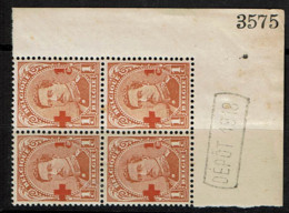 150  Bloc 4  **  Cdf  *  Dépôt 1918 Et N°  Adhérences - Variedades (Catálogo Luppi)