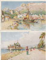 Aquarelles De Casimir RAYMOND - Lot De 4 CPA : Cannes - Nice - Monaco - Non Classificati