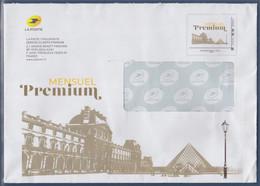 Enveloppe Entier International 250g Mensuel Premium Cadre Philaposte Avec Le Louvre Et La Pyramide Signée Phil@poste - PAP : Altri (1995-...)