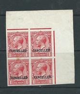 Gb Stamps George V Corner Imperf Block Overprinted Cancelled. Sg357 Hm On 1 - Ungebraucht