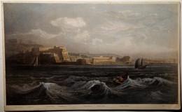 Incisione Su Rame Acquarellata Napoli S. Elmo, Castel Dell'Ovo 1848 (P453) Come Da Foto Località Descritte Piè Di Foglio - Prenten & Gravure