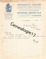 56 0157 VANNES MORBIHAN 1932 Ornements D Eglise GEORGES DAVID FILS Succ EVENARD PRODOMME Lampes De Sanctuaires - 1900 – 1949