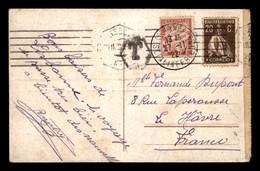 CARTE TAXEE - 1 TIMBRE TAXE A 30 CENTIMES SUR CARTE OBLITEREE LISBOA PORTUGAL - 1859-1955 Cartas