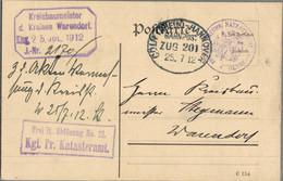 1912 OELDE Königl. Preuß. Kataster-Amt M. Bahnpost N. Warendorf - Marcofilie - EMA (Print Machine)