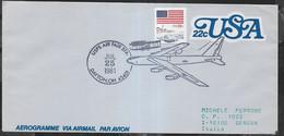 "U.S.A. - ANNULLO SPECIALE "" USPS AIR FAIR STA. *JUL 25 1981* DAYTON, OH 45401 "" SU AEROGRAMMA VIAGGIATO - Cartas"