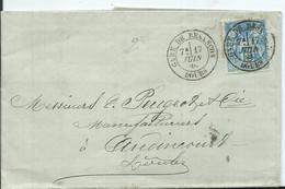FRANCE - L.A.C.- TYPE SAGE  Oblitération - GARE DE BESANÇON - 1877-1920: Semi-moderne Periode