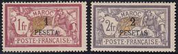 Maroc Bureaux Français 1902-1910 - N° 16 & 17 (YT) N° 19 & 20 (AM) Neufs (*). - Ongebruikt
