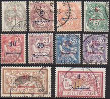 Maroc Bureaux Français 1902-1910 - N° 25 à 29, 31 à 33, 35 à 36 (YT) N° 28 à 37 (AM) Oblitérés. - Gebruikt