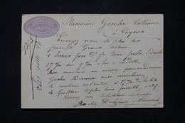 FRANCE - Étiquette Commerciale De Amiens Sur Carte Précurseur Pour Cayeux En 1873, Affranchissement Cérès 15ct - L 86381 - Precursor Cards