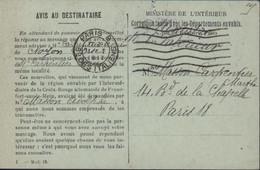 Guerre 14 18 CP FM Ministère De L'Intérieur Correspondance Avec Départements Envahis Rapport Avc Croix Rouge Allemande - Guerre De 1914-18