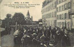 -dpt Div.-ref-AV575- Moselle - Metz - Ve Congrès Pompiers D Alsace Lorraine - Défilé Rue De La Garde - Sapeurs Pompiers - Metz
