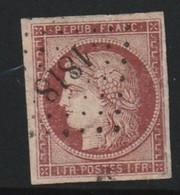 France N° 6 Un Franc Carmin Foncé , Timbre Réparé Belle Oblitération - 1849-1850 Ceres