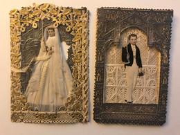 Rare Lot De 2 Images Pieuses Canivet En Dentelles -vers 1880 - Tissu Et Papier Découpis - Relief Accordéon Pour Le Marié - Devotieprenten
