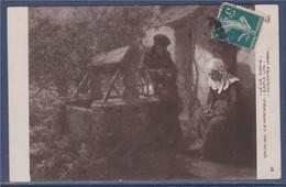 Salon 1910 Paris La Vie Simple, Couple Près Du Puits Carte Postale Timbrée N°137 Type Semeuse - Manifestations