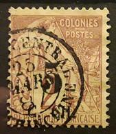 COCHINCHINE 1886, Type Alphee Dubois Surchargé Yvert No 2, 5 Sur 2 C Lilas Brun Obl SAIGON CENTRAL, 25 Mars 1887, TTB - Oblitérés