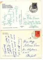 1957/59 ISCHIA 2 CARTOLINE CON ANNULLI PIROSCAFO POSTALE ISCHIE E CITTA' DI ABBAZIA - 1946-60: Marcofilie
