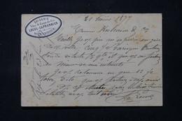 FRANCE - Étiquette Commerciale De Montdidier Sur Carte Précurseur Pour Amiens En 1877 Affr. Sage 15ct - L 86405 - Precursor Cards