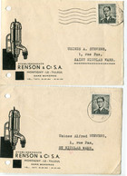1959 2 Plikart(en) - Postkaart(en) - Zie Zegels, Stempels, Hoofding Ets RENSON & Cie  Montigny Le Tilleul  Gare Bomeree - Cartas