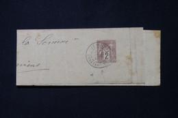FRANCE / ALGÉRIE - Bande Journal Type Sage 2ct De Jemmapes En 1890 Pour Amiens - L 86457 - Streifbänder