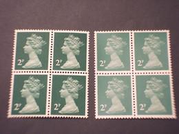 GRAN BRETAGNA - 1970/80 REGINA  2 P. + 2 P.,  Opaco-lucido, In Quartine - NUOVO(++) - Unused Stamps