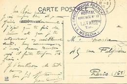 81-cachet Hôpital Aux. N°13 à Lavaur Sur CP En 1916-cachet Rare - 1. Weltkrieg 1914-1918