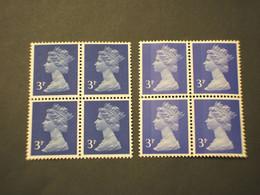 GRAN BRETAGNA - 1970/80 REGINA  3 P. Banda Centrale-3 P. Due Bande, In Quartine - NUOVO(++) - Unused Stamps