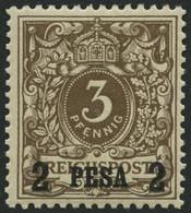 DEUTSCH-OSTAFRIKA 1I *, 1893, 2 P. Auf 3 Pf. Mittelbraun, Falzrest, Pracht, Mi. 50.- - Kolonie: Deutsch-Ostafrika