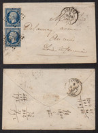 RENNES / 1857 PC 2650 SUR PAIRE SUR ENVELOPPE POUR ANCENIS  (ref LE2555) - 1849-1876: Classic Period