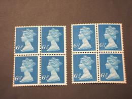 GRAN BRETAGNA - 1974/5 REGINA  6 1/2 P. Banda Centrale-6 1/2 P. Due Bande, In Quartine - NUOVO(++) - Unused Stamps