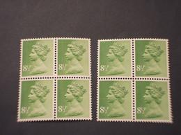 GRAN BRETAGNA - 1975/7 REGINA  8 1/2 P. Tutto Fosforo -8 1/2 P. Due Bande, In Quartine - NUOVO(++) - Unused Stamps
