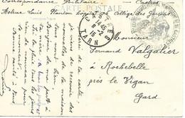 81-cachet Hôpital Temp. N°16 à Castres Sur CP En 1915 - 1. Weltkrieg 1914-1918